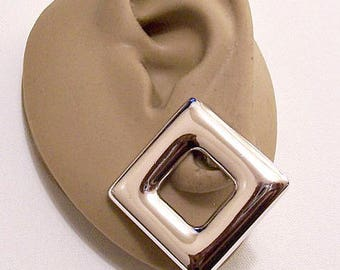 Monet Square Block Pierced Earrings Silver Tone Vintage Geometric Domed Rounded Open Wide Smooth Bands