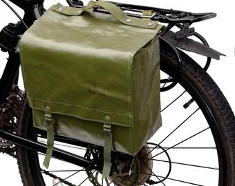 Genuine 1980s Ex-Army Waterproof Pannier Bag retro vintage green large bike rubberized pannier showerproof rainproof