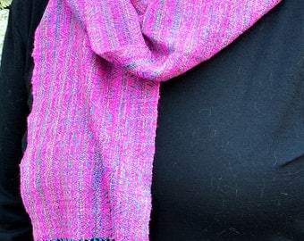 Hand-Dyed, Handwoven Silk Scarf #355