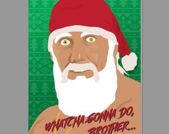 Hulk Hogan Christmas Card with Envelope Brother Holiday Card