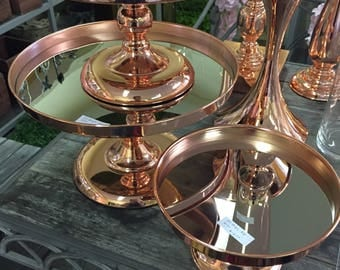 30cm ROSE GOLD Lux Metal Cake Stand with a mirror plate Cupcake Dessert Platter Display Stand Wedding Event Party