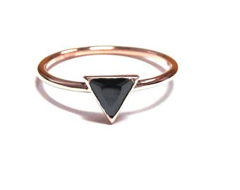14K Gold Triangle Ring-14K Gold Solitaire Ring-Gold Ring-Diamond Ring-14K Gold Zirconia Handmade Solitaire Ring