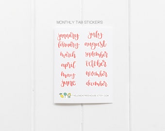 Monthly Planner Stickers - Pink Cursive Hand-Lettering