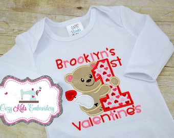First Valentine's Day bodysuit shirt bib gown girl boy baby infant toddler kid child embroidery applique personalized mongram custom name