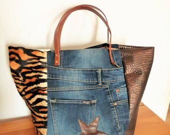 Designer patchwork tote bag croco Brown/leopard Tan/Jean recycled upcycling/star brown leather, camel leather handles