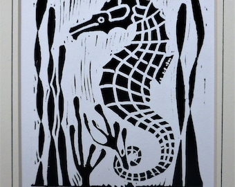 Seahorse. Seaside inspired limited edition linocut print