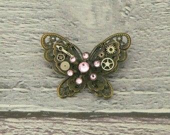 Pink Steampunk Butterfly Brooch, Steampunk Brooch, Steampunk Pin, Butterfly Pin, Butterfly Jewellery, Steampunk Jewellery