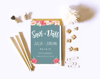 Blush and indigo Floral  Save The Date.
