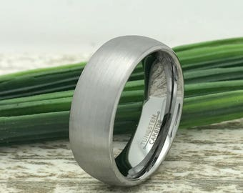 8mm Tungsten Ring, Engraved Date Ring, Couples Names Ring, Roman Numeral Ring, Coordinates Ring, Couple Promise Ring, Wife Name Ring