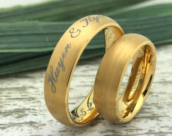 6mm His & Hers Tungsten Rings,Personalized Custom Engrave Tungsten Ring, Comfort Fit, Brushed Finish, Beveled Edge