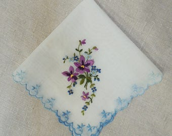 Lilac & Blue Handkerchief Wedding Keepsake: Bridal Gift, Pocket Square. 1950's Embroidered Hanky. Farmhouse Cottage Retro, 11 in Hankie HK39
