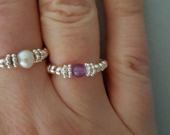 Sterling Silver Amethyst stretch ring tiny purple gemstone - February Birthstone jewellery Chakra Healing jewelry