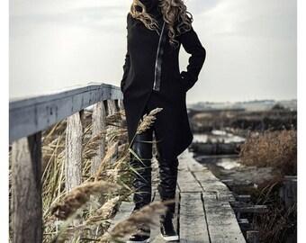 Asymmetrical warm coat / Winter black coat / Black wool blend coat /Minimalist coat / Black Coat / Wool blend coat / Women coat