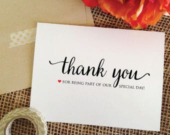 Wedding Thank you cards personalized thank you note, thankyou card set wedding cards thank you for being part of our special day (wa8thank)