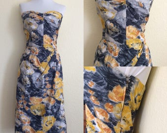 1950s watercolor print strapless sarong dress!