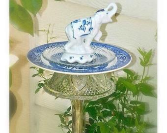 KANDULA, Garden Stake Bird Feeder, Garden Totem, Garden Sculpture, Blue Willow, Re-purposed Glass & Ceramic Ware