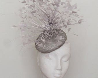 Silver Grey Fascinator - Kentucky Derby Hat - Royal Ascot Hat - Lulu