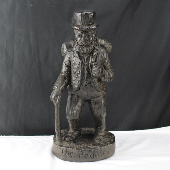 "Austin Productions ""The Peddler""  1967-Dark Brown Statue Man Figurine-13"" Sculpture"