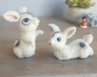 Sweet Vintage Hand Painted Bunny Figurines, Fuzzy Bisque Porcelain Texture, 1950s Made in Japan, Big Eyes Mid Century Kitsch Ceramic Rabbits