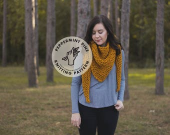 The Camblin Shawl - KNITTING PATTERN - Chunky Knit Shawl Scarf Wrap Pattern Instant Download