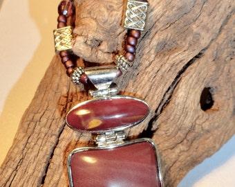 Red Jasper Necklace with Pendant, Jasper Necklace, Red Jasper Pendant, Beaded accented adjustable necklace