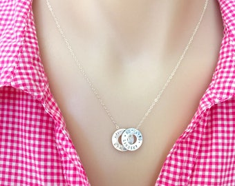 Sterling Silver Washer Necklace, Personalized Name Necklace, Mother of The Bride Gift, Sister Gift, Mother In Law Gift, Grandma Necklace