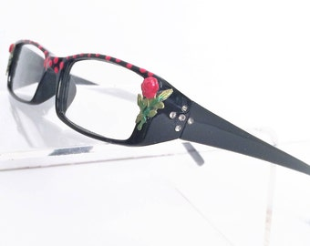 Rose Reading Glasses, Readers +1.00, hand painted reading glasses
