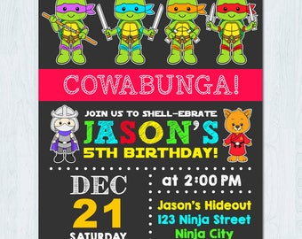 Ninja Turtle Invitation, Ninja Turtles invitation, TMNT Invitation, Ninja turtle birthday invitation, Ninja turtle girl invitation