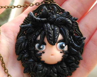 Howl Cameo Necklace Howl's Moving Castle Kawaii Dark feathers Studio ghibli