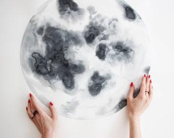 Custom original watercolor painting - Moon