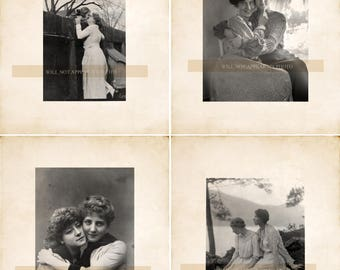 Lot of 4 Vintage Lesbian Photo Reprints Gay Interest 26