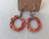 Crocheted Small Hoop Scallop Dangle Earrings/ Orange Earrings/ Jewelry