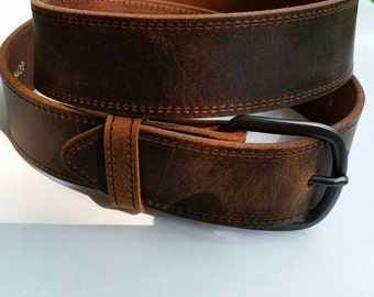 "1-1/2"" Stitched  Water Buffalo Full Grain  Leather Belt"