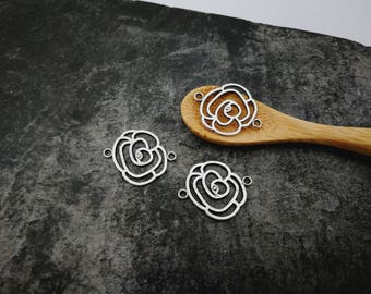 Connectors flowers, large filigree Connesteurs flowers openwork silver Metal, 25 x 20 mm