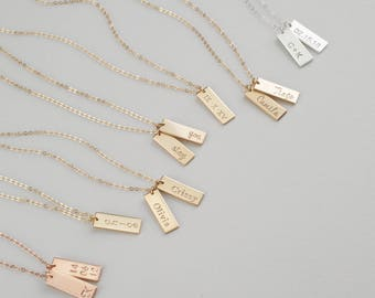 ZAIA Tag Necklace • Personalized Tag Necklace • Engraved Tags, Personalized Gifts, Dog Tags, Hand Stamped Tags in Silver, Gold & Rose • N146