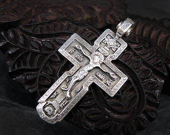 Vintage Sterling Silver Cross Jesus Christ Crucifix Orthodox Cross Large Silver Cross Big Silver Cross