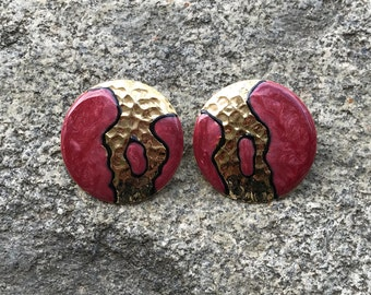 Vintage Abstract Earrings // 80s Earrings // Pink Mauve Enamel and Gold Circle Earrings // Abstract Art Earrings // Pink and Black Earrings