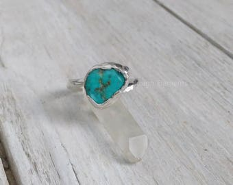 """Kingman Turquoise Fine Silver By Pass Ring, Size 6 """"Can be Resized"""", December Birthstone"""