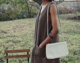 Vintage Vegan Leather Beige Purse/Handbag