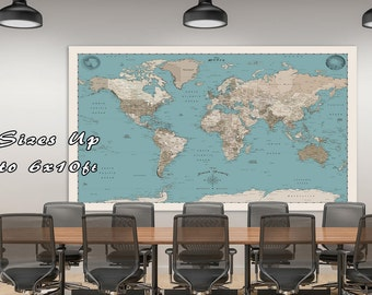 Big World Map.  A Huge Map of the World. Up to 6xft x 10ft map.  Large World Travel Map.  BWM35