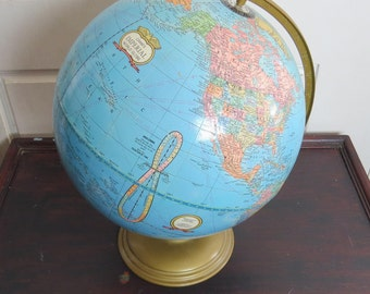 "Cram's 12"" Imperial Blue World Globe Wood Stand Cold War Era USSR Yugoslavia Home Office Decor"