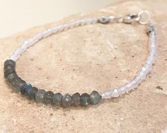 Gray bracelet, labradorite bracelet, crystal quartz bracelet, Hill Tribe silver bracelet, gemstone bracelet, sundance style bracelet