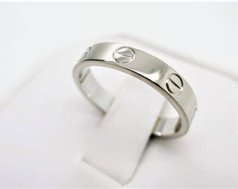 Size 51 ~ CARTIER LOVE RING ~ 18kt White Gold, 4mm