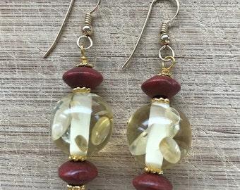 Beaded earrings, Acrylic earrings, Wood earrings, Japanese lanterns