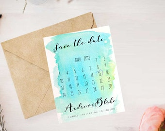 Calendar Save The Date, Self Print Wedding Stationery Download