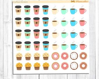Coffee Stickers, Caffeine Stickers, Drink Stickers, Doughnut Stickers, Food Stickers, Baked Goods Stickers, Planner Stickers for any Planner