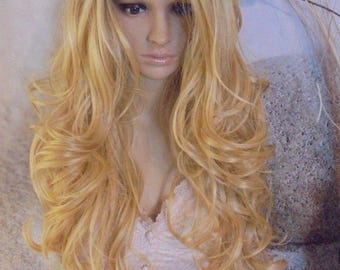 Human hair blend Ombre Dark Roots To Blonde golden blond Lace Front Wig