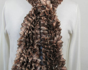 Brown Ruffle Scarf