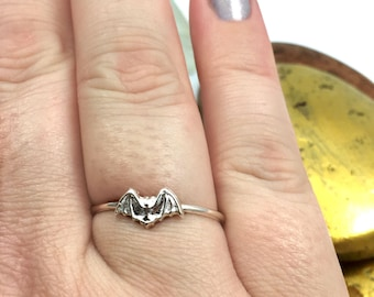 Silver Bat Ring, Bat Ring, Cute Halloween Ring, Solid Sterling Silver Ring, Bat Jewelry, Silver Bat, Silver Bat, Halloween Bat, Punk, Goth