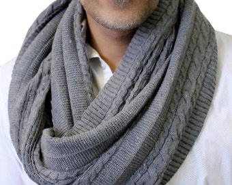 Men's 100% Organic Cotton Cable Knit Infinity Scarf (10 colors) - Soft, Lightweight, Chunky, Eternity Loop, Cowl, Eco-Friendly, Non-Toxic
